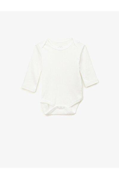 Koton Kız Bebek Beyaz Pamuklu Basic Uzun Kollu Çıtçıtlı Zıbın