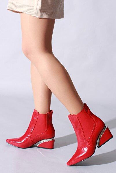 ROVIGO Kırmızı Kırışık Rugan Kadın Bot