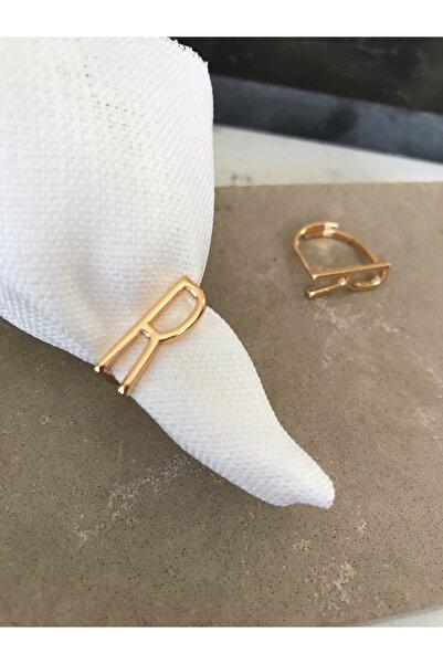 Pupa Bijoux Ayarlanabilir Gold Harf Yüzük,r Harfi