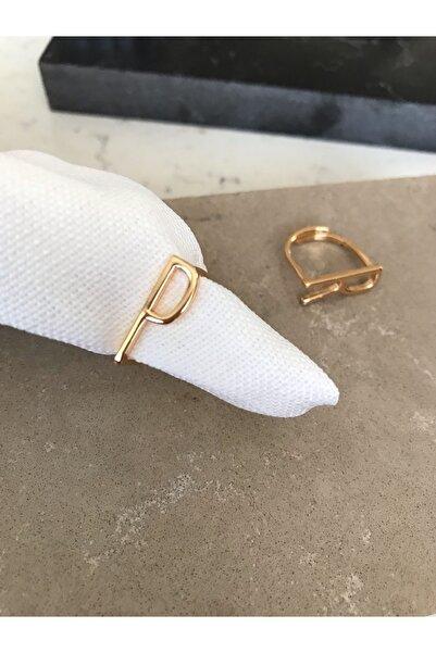 Pupa Bijoux Ayarlanabilir Gold Harf Yüzük,p Harfi
