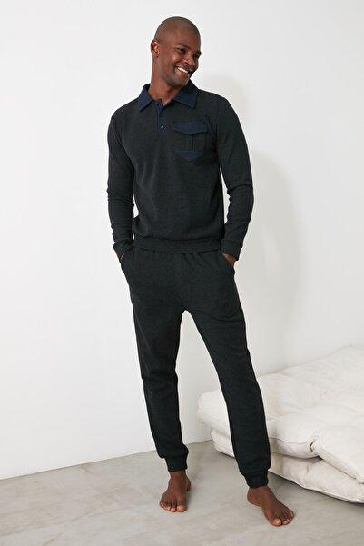 TRENDYOL MAN Antrasit Örme Pijama Takımı THMAW21PT0720