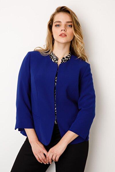 Ekol Kadın  Lacivert Oval Yaka Ceket
