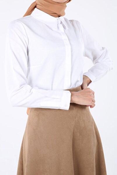 ALLDAY Beyaz Gizli Patlı Gömlek