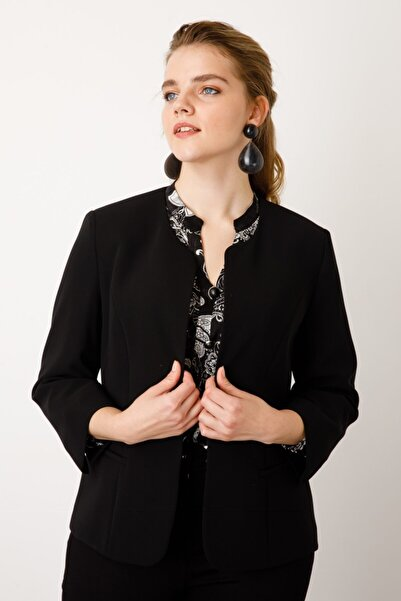 Ekol Kadın Siyah Oval Yaka Ceket