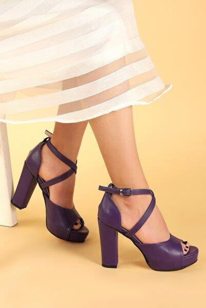 Ayakland Kadın Mor Platform Topuklu Ayakkabı 11 cm 3210-2058