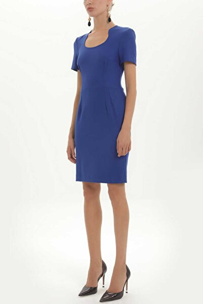 SOCIETA - Dar Kesim Likralı Elbise 91438 Gece Mavisi