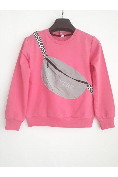 Elvinsa Çantalı Pembe Kız Çocuk Sweatshirt