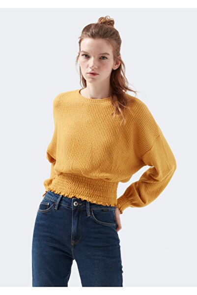 Mavi Beli Büzgülü Sarı Tişört 1600353-32975
