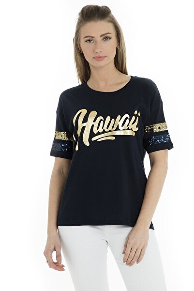 Fashion Friends Kadın Lacivert T-Shirt