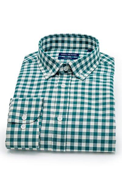 GIZA HOUSE Madison Erkek Yeşil Kareli Yaka Düğmeli Casual Fit Lüks Pamuklu Gömlek