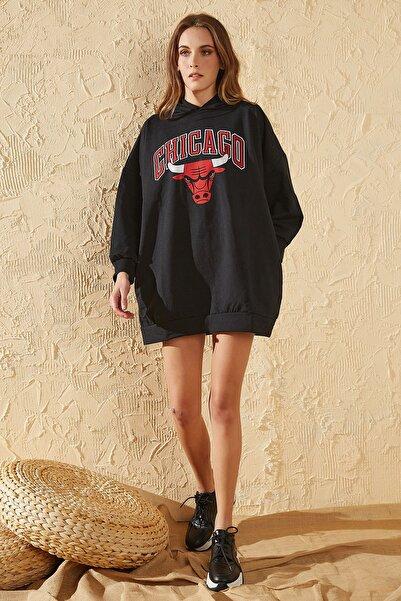 Sun Victoria Kadın Siyah Oversize Baskılı Sweatshirt