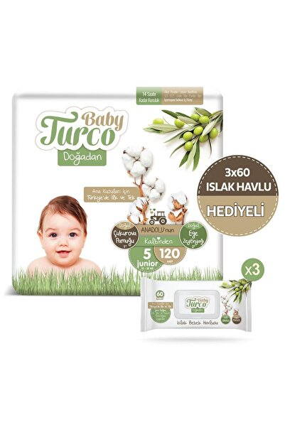 Baby Turco Doğadan 5 Numara Junıor 120 Adet + 3x60 Doğadan Islak Havlu