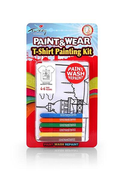 paint-wear Kız Kulesi Boyama T-shirt 4-6 Yaş