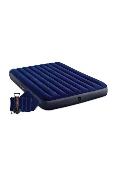 Intex Çift Kişilik Şişme Yatak + 2 Yastık + Pompa / Kamp Seti