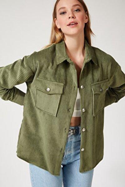 Kadın Haki Kadife Hafif Oversize Gömlek DD00768