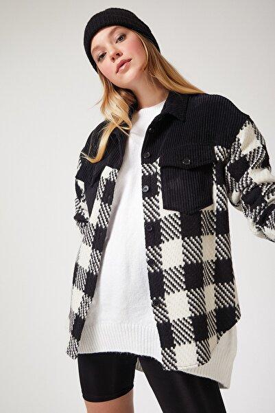 Happiness İst. Kadın Siyah Beyaz Kareli Blok Renkli Yünlü Kaşe Gömlek Ceket DD00760