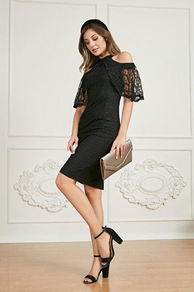 Sateen Kadın Siyah Kol Detaylı Dantelli Elbise