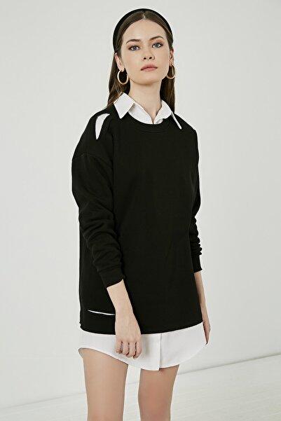 Sateen Kadın Siyah Uzun Yırtık Sweatshirt