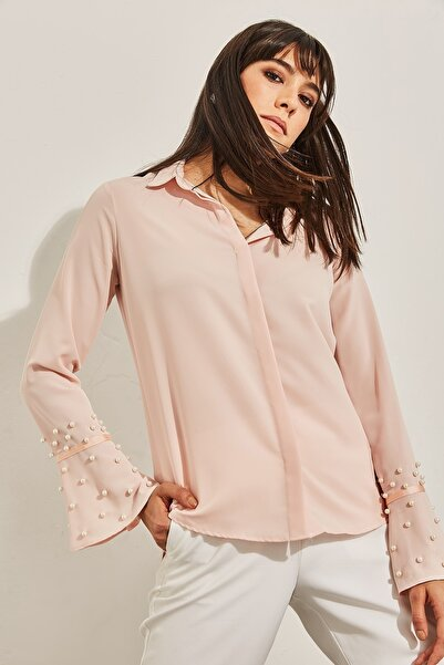 Lafaba Kadın Pudra Kolları İnci Süslemeli Gömlek