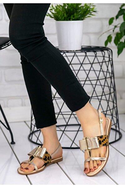 Erbilden Kadın Gold Cilt Melba Sandalet