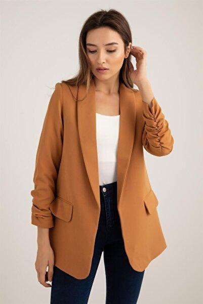 Eyyo Kadın Camel Blazer Ceket
