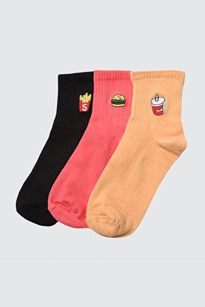TRENDYOLMİLLA Siyah 3'lü Paket Nakışlı Örme Çorap TWOAW21CO0036