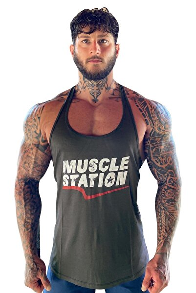 Muscle Station Musclestation Toughman Tank Koyu Haki Workout Fitness Atlet