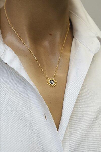 Marjin Kadın Zirkon Taşlı Mavi Nazarlıklı Güneş Figürlü Altın Renkli Kolye