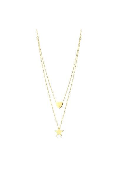 Lizay Pırlanta Altın Kalp ve Yıldız Kolye