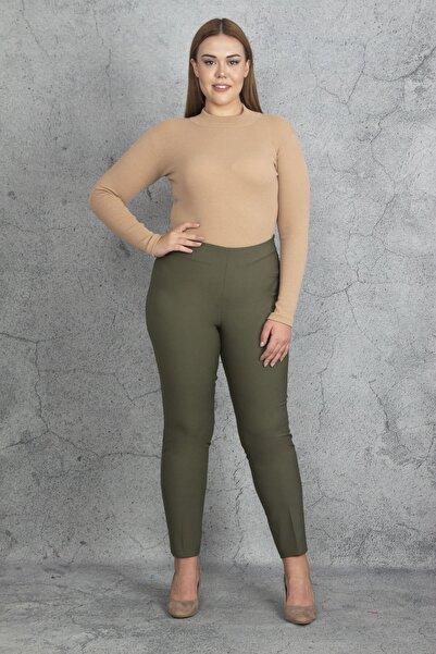 Şans Kadın Haki Krep Kumaş Gizli Kemer Yan Fermuarlı Klasik Pantolon 65N17329