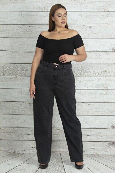 Şans Kadın Antrasit Yüksek Bel Rahat Kesim Kot Pantolon 65N19994