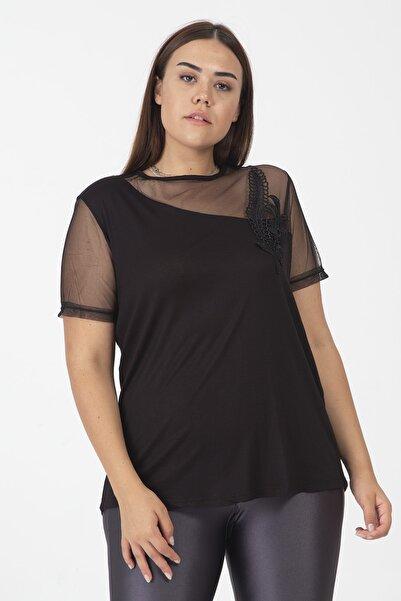 Şans Kadın Siyah Tül Ve Dantel Detaylı Bluz 65N19891