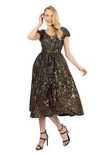 WOMMA Kadın Gold Payetli Karpuz Kol Elbise