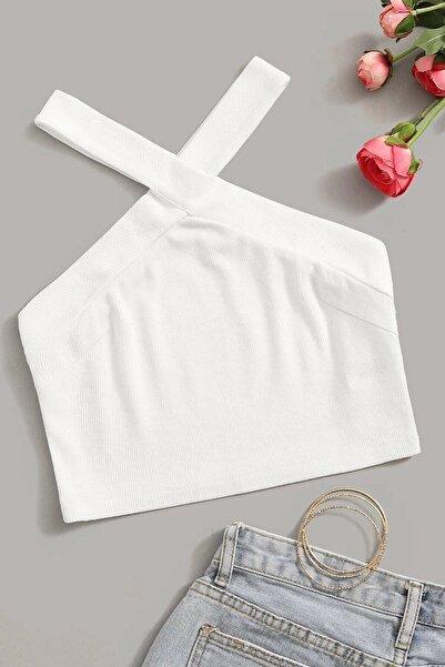 boutiquen Kadın Ekru Çapraz Askılı Kalın Fitilli Crop Bluz