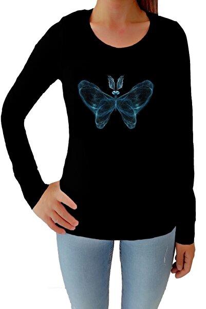 Tshigo Kadın Siyah Kelebeğin Ruhu Likralı Uzun Kollu Tişört
