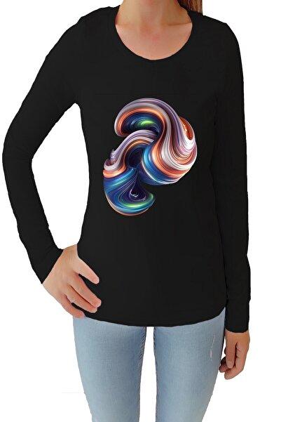 Tshigo Kadın Siyah Kuantum Gezgini Likralı Uzun Kollu Tişört