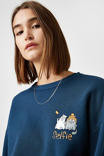 Koton Kadın Petrol Sweatshirt 1KAL68994IK