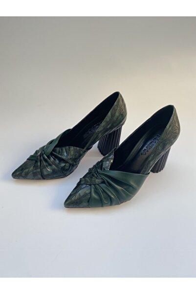 NACHA Kadın Yeşil Sivri Burun Topuk Detaylı Ayakkabı