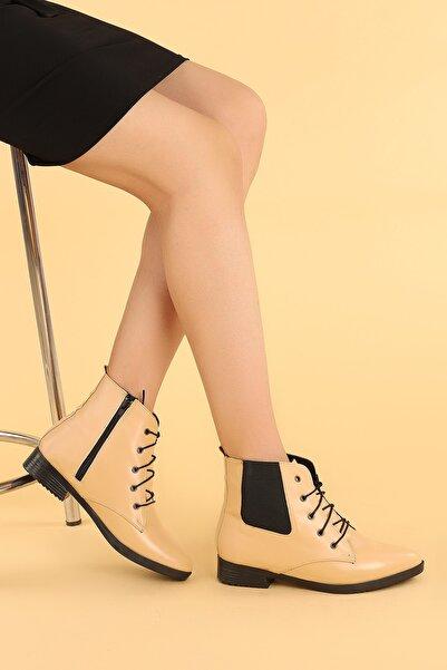Ayakland Kadın Bej Cilt Bağcıklı Termo Taban Bot Ayakkabı 387-01