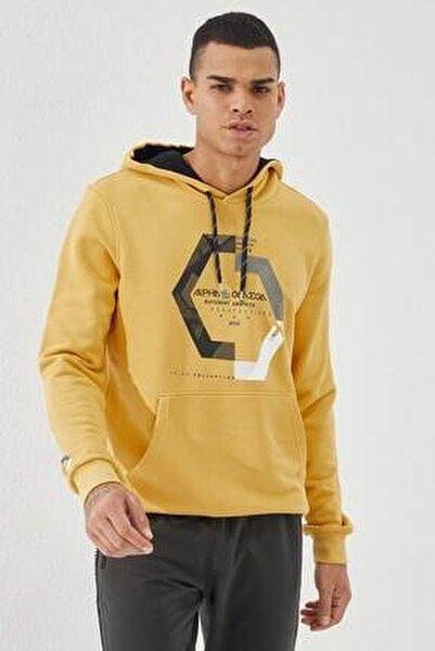 Erkek Sarı Kapüşonlu Üç Renk Nakışlı Hardal Kanguru Cepli  Sweatshirt