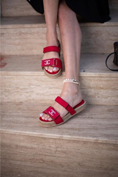 ESPARDİLE Kadın Kırmızı Taşlı Sandalet