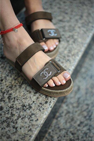 ESPARDİLE Kadın Haki Taşlı Sandalet