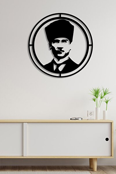 MIGNATIS Mustafa Kemal Atatürk Resmi Potresi Duvar Ev Aksesuarı Ahşap Tablo 50x50cm
