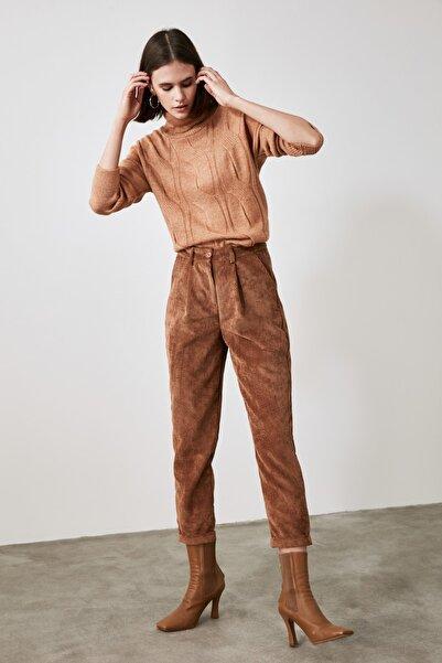 TRENDYOLMİLLA Camel Kadife Pantolon TWOAW21PL0611
