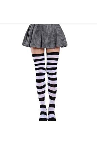 Siyah Beyaz Çizgili Diz Üstü Çorap