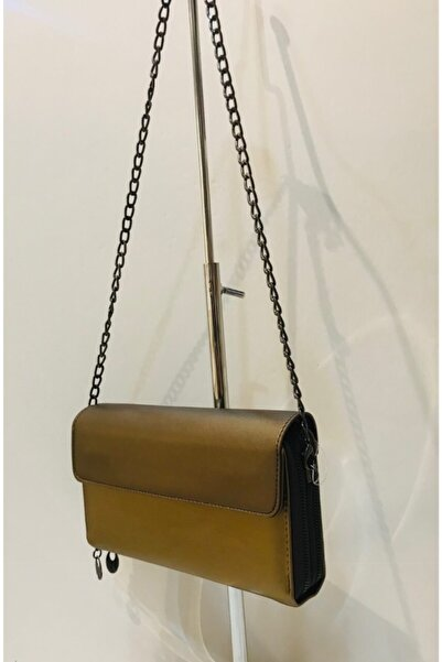 Mima Zincirli Kadın Bronz Gold Cüzdan Çanta