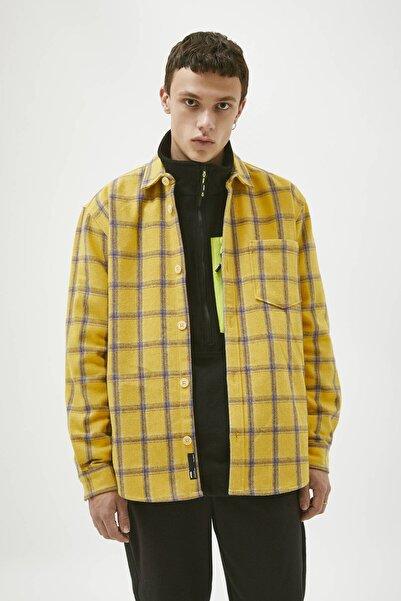 Pull & Bear Erkek Sarı Mor Kareli Sarı Gömlek 09470515