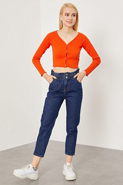 Arma Life Kadın Lacivert Denim Beli Lastikli Pantolon