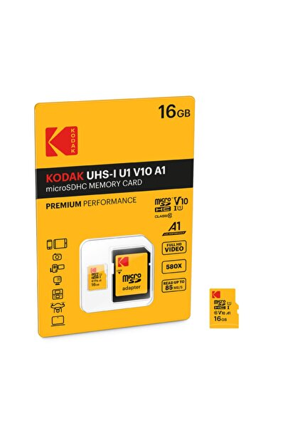 Kodak Msd 16gb Uhs-ı U1 V10 A1 Premium Performans Micro Sd Kart + Sd Adaptör