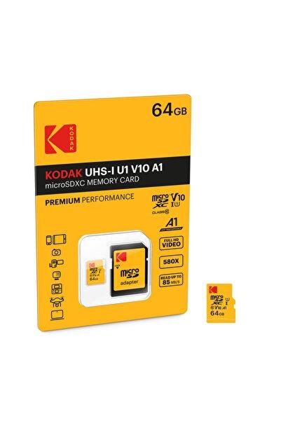 Kodak Msd 64gb Uhs-ı U1 V10 A1 Premium Performans Micro Sd Kart + Sd Adaptör